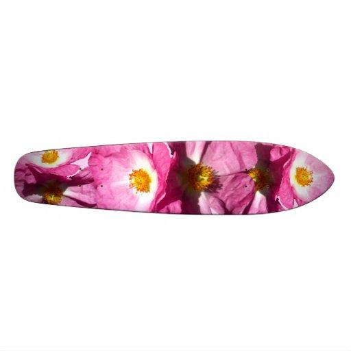 Two Pink Flowers Skateboard
