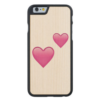 Two Pink Hearts - Emoji Carved Maple iPhone 6 Case