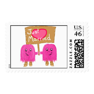 Two Pink Just Married Postage Stamp
