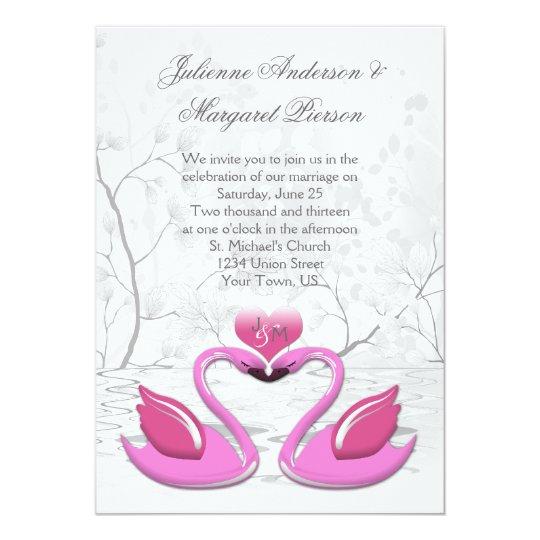 Two Pink Kissing Swans Wedding Invitation