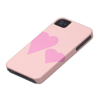 Two pink Love hearts iPhone 4 Case