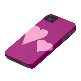 Two pink Love hearts iPhone 4 Case-Mate Cases