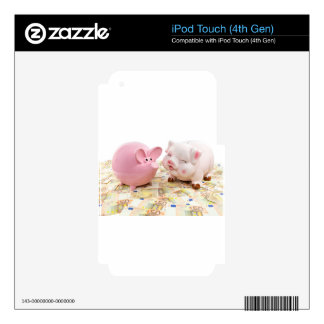 Two pink piggy banks on spread euro notes decals for iPod touch 4G