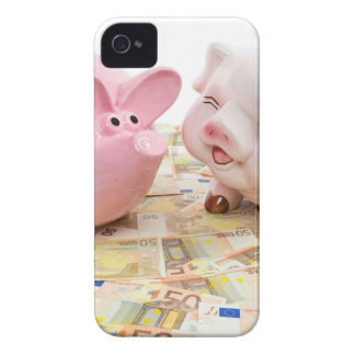 Two pink piggy banks on spread euro notes iPhone 4 cover