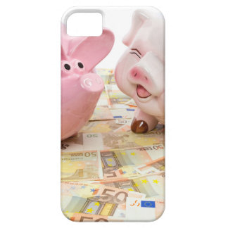 Two pink piggy banks on spread euro notes iPhone SE/5/5s case