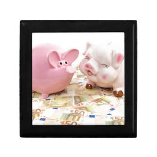 Two pink piggy banks on spread euro notes jewelry box