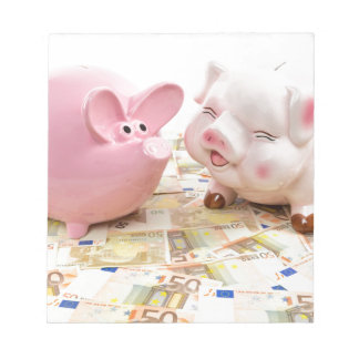 Two pink piggy banks on spread euro notes notepad