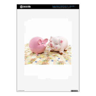 Two pink piggy banks on spread euro notes skins for iPad 3