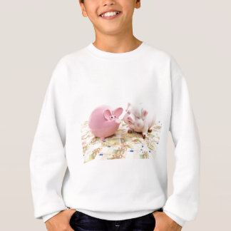 Two pink piggy banks on spread euro notes sweatshirt