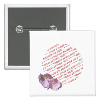 Two Pink Poppies Photo Frame Button