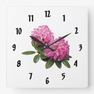 Two Pink Rhododendrons Square Wall Clock