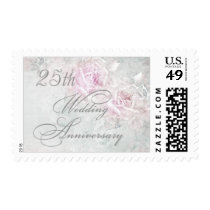 Two pink roses on silver 25th Wedding Anniversary Postage