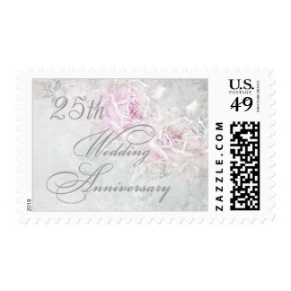 Two pink roses on silver 25th Wedding Anniversary Postage Stamps