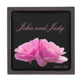 Two Pink Roses Personal Wedding Premium Trinket Box