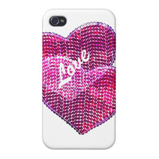 two pink sequined hearts in love iPhone 4/4S case