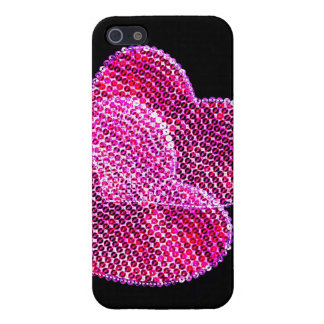 two pink sequined hearts in love cover for iPhone 5