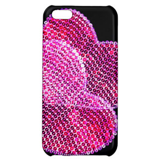 two pink sequined hearts in love cover for iPhone 5C