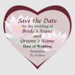 Two Pink Water Lilies Save the Date Heart Stickers