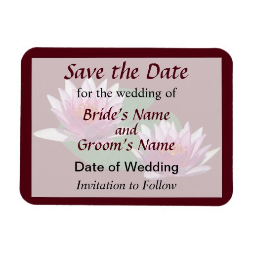 Two Pink Water Lilies Save the Date Magnet