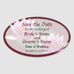 Two Pink Water Lilies Save the Date Oval Sticker