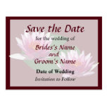 Two Pink Water Lilies Save the Date Postcard