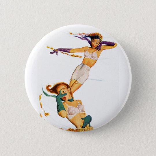 Two Pinup Girl in their Underwear in the Wind Button
