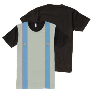 Two Pirate Swords Crossed Imitation Suspenders All-Over Print T-shirt