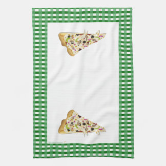 Two Pizza Slices Green Checkered Border Tea Dish Hand Towels
