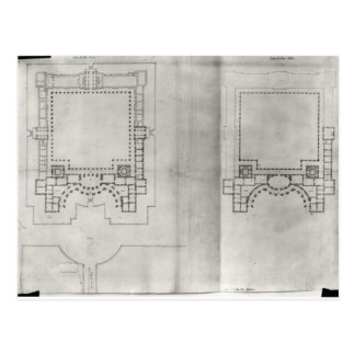 Two plans for the first project for the Louvre Postcard