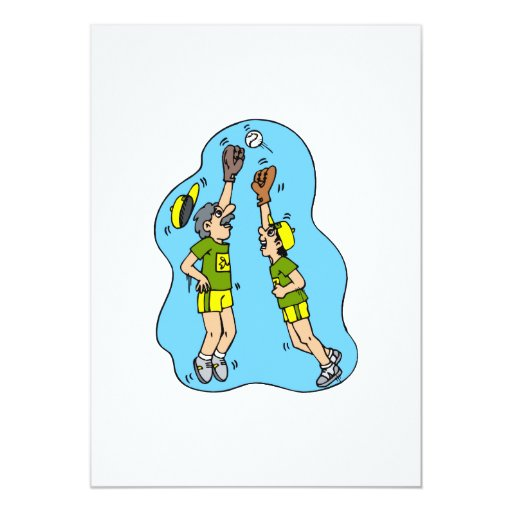 Two players jumping for the ball 5x7 paper invitation card