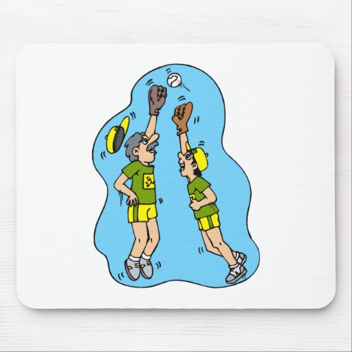 Two players jumping for the ball mouse pad