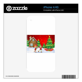 Two playful dwarves near the christmas trees decals for iPhone 4