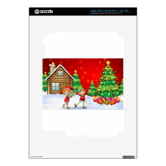 Two playful dwarves near the christmas trees iPad 3 skin