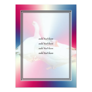 two playful happy geese in color background card