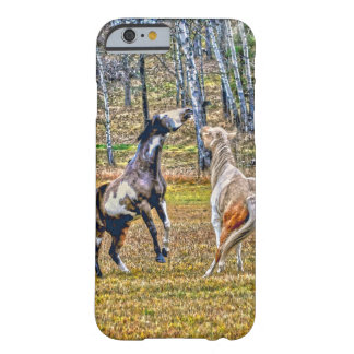 Two Playful Pinto Paint Horses Equine Art Design Barely There iPhone 6 Case