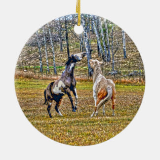 Two Playful Pinto Paint Horses Equine Art Design Ceramic Ornament