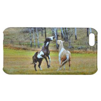 Two Playful Pinto Paint Horses Equine Art Design iPhone 5C Case