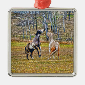 Two Playful Pinto Paint Horses Equine Art Design Metal Ornament