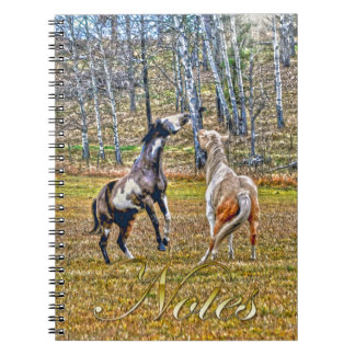 Two Playful Pinto Paint Horses Equine Art Design Notebook