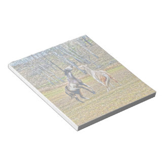 Two Playful Pinto Paint Horses Equine Art Design Notepad