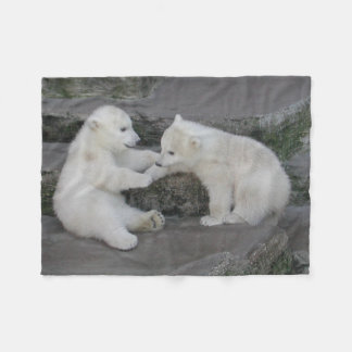 Two Polar Bear Cubs Fleece Blanket