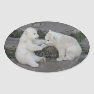 Two Polar bear cubs Oval Sticker