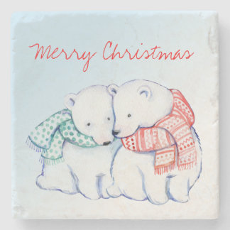 Two Polar Bears Merry Christmas Coasters