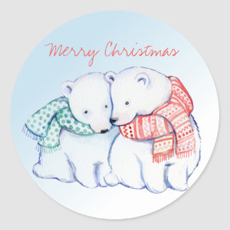 Two Polar Bears Merry Christmas Stickers