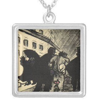 Two policemen take away a tramp dressed in rags silver plated necklace