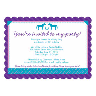 Two Pony Party Invitation - Scalloped