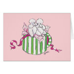 Two Poodles in a Hatbox Retro Art Print Note Card