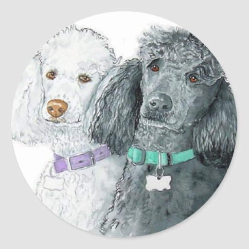 Two Poodles Stickers