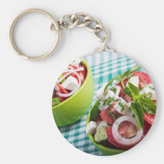 Two portions of useful vegetarian meal closeup keychain