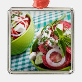 Two portions of useful vegetarian meal closeup metal ornament